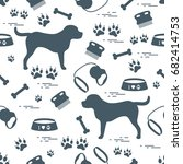 cute seamless pattern with dog... | Shutterstock .eps vector #682414753