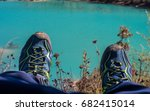 Hiking Shoes Lay On Grass For...