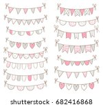cute doodle buntings for baby... | Shutterstock .eps vector #682416868