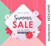 summer sale background layout... | Shutterstock .eps vector #682416940