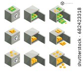 a set of safe icons in... | Shutterstock .eps vector #682423318