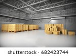 large trucking warehouse with... | Shutterstock . vector #682423744