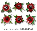 vector red rose set | Shutterstock .eps vector #682428664