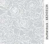 rose grey pattern. floral... | Shutterstock .eps vector #682433134