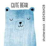 cute bear with texture... | Shutterstock .eps vector #682436428