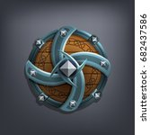 iron fantasy shield for game or ... | Shutterstock .eps vector #682437586
