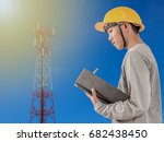 blurred engineer recording... | Shutterstock . vector #682438450