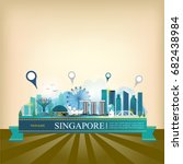 vector landmark of singapore | Shutterstock .eps vector #682438984