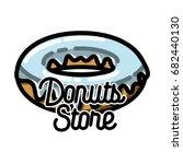 color vintage donuts store... | Shutterstock .eps vector #682440130