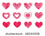 12 hearts isolated on white | Shutterstock .eps vector #68244358