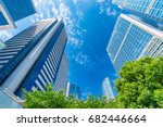 high rise buildings and blue... | Shutterstock . vector #682446664