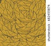 vector pattern gold  leaves  | Shutterstock .eps vector #682455874