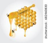 bee with honey vector... | Shutterstock .eps vector #682460830