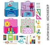 four school backpacks and... | Shutterstock .eps vector #682468369