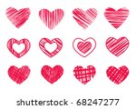 12 hearts isolated on white | Shutterstock . vector #68247277