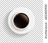 realistic top view white coffee ... | Shutterstock .eps vector #682483900
