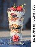 tall glass dessert with... | Shutterstock . vector #682487668
