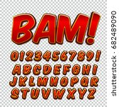 comic alphabet set. letters ... | Shutterstock .eps vector #682489090
