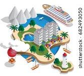 the resort is on the islands.... | Shutterstock .eps vector #682493050