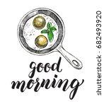 breakfast dish. fried eggs in a ... | Shutterstock .eps vector #682493920