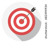 red target. flat design. | Shutterstock .eps vector #682494934
