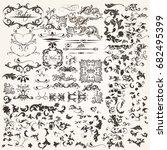 set of vector calligraphic... | Shutterstock .eps vector #682495399