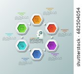 six colorful hexagons with thin ... | Shutterstock .eps vector #682504054