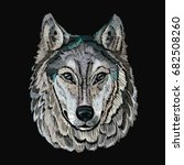 embroidery wolf. embroidery... | Shutterstock .eps vector #682508260