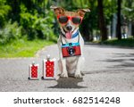 jack russell dog ready for... | Shutterstock . vector #682514248