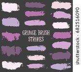 vector set of brush strokes and ... | Shutterstock .eps vector #682516090