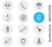 vector illustration of 12 food... | Shutterstock .eps vector #682516306