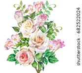 watercolor roses bouquet | Shutterstock . vector #682522024