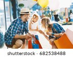 happy family with shopping bags ... | Shutterstock . vector #682538488