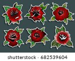 red rose set | Shutterstock .eps vector #682539604