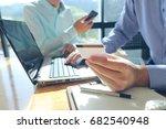 man hands using tablet  laptop... | Shutterstock . vector #682540948