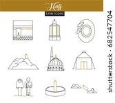 hajj thin line icons | Shutterstock .eps vector #682547704