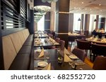 interior of restaurant. wooden... | Shutterstock . vector #682552720