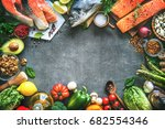 assortment of fresh fish with... | Shutterstock . vector #682554346