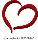 3d red heart abstract logo...