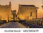 sunset at luxor temple   Shutterstock . vector #682580659