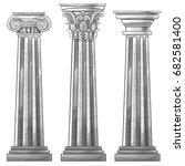 stylized greek columns. doric.... | Shutterstock . vector #682581400