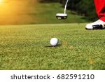 golfers are putting golf | Shutterstock . vector #682591210