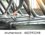 young women exercise together... | Shutterstock . vector #682592248