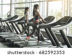 young women exercise together... | Shutterstock . vector #682592353