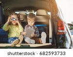 travel by car family trip... | Shutterstock . vector #682593733