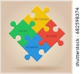 four colourful puzzle pieces.... | Shutterstock . vector #682598374
