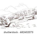 sketch of tent in wild nature... | Shutterstock .eps vector #682602073