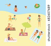 people on the beach. cartoon... | Shutterstock .eps vector #682607689