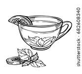 hand drawn sketch of tea. cup...   Shutterstock . vector #682608340
