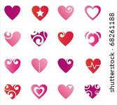 set of 16 hearts icons | Shutterstock .eps vector #68261188